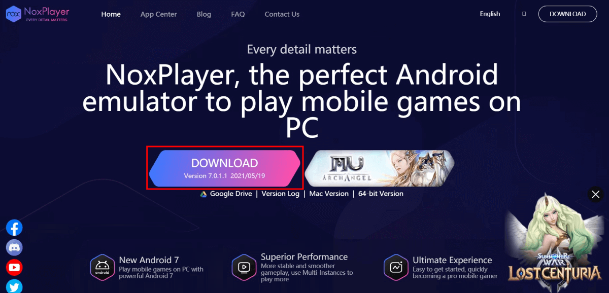 NOX Player download page