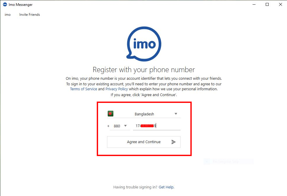 Phone number connected with your IMO account