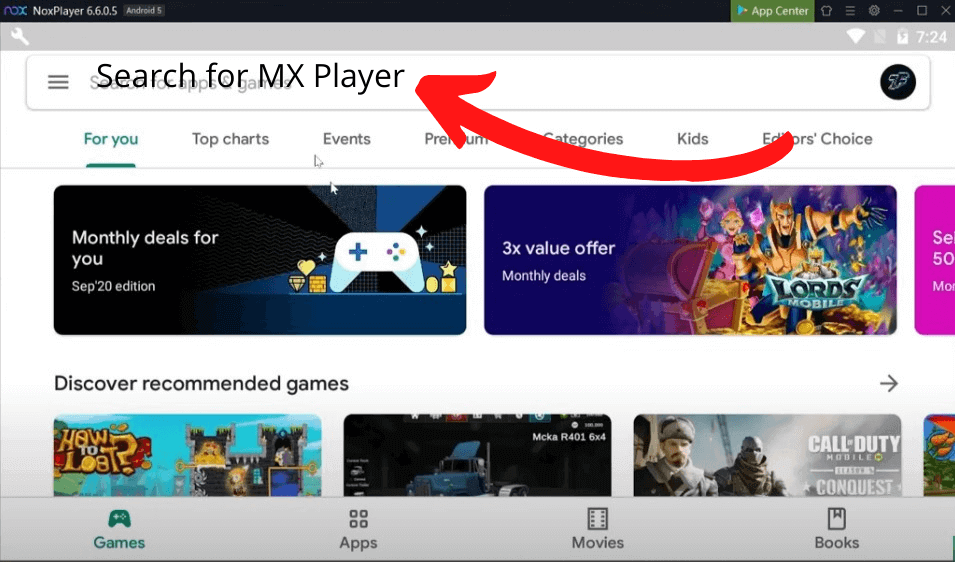 Search for MX Player in NOX Player