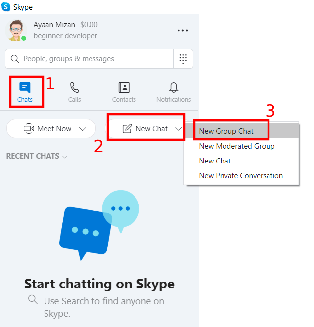 Skype new group chat