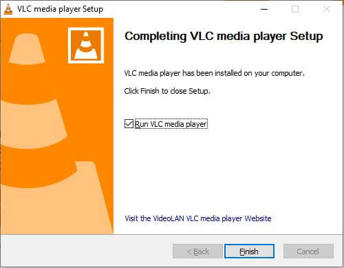 VLC finish button after installation