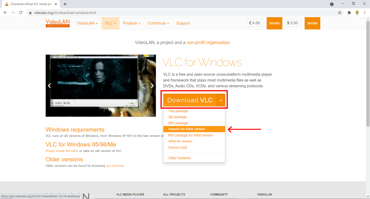VLC for pc download page
