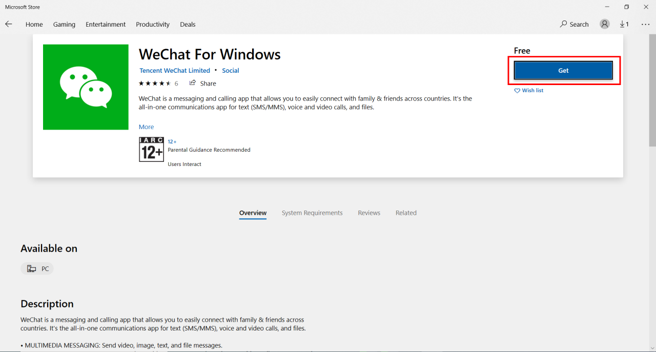 WeChat install from microsoft store