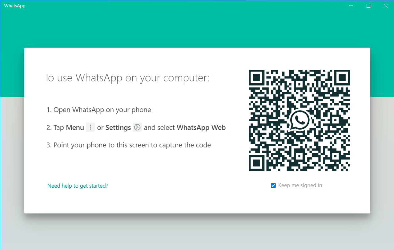 Welcome page of WhatsApp Desktop
