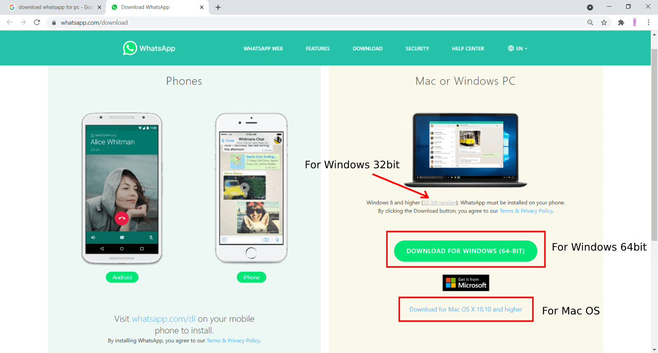 Whatsapp for pc Download page