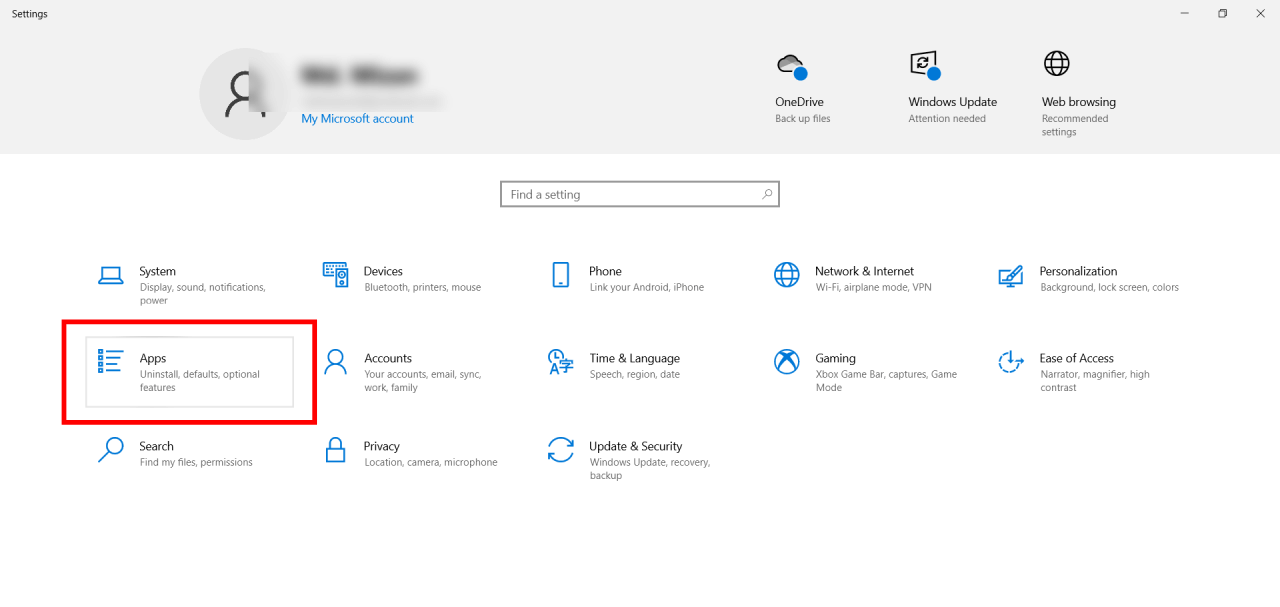 Windows apps settings button
