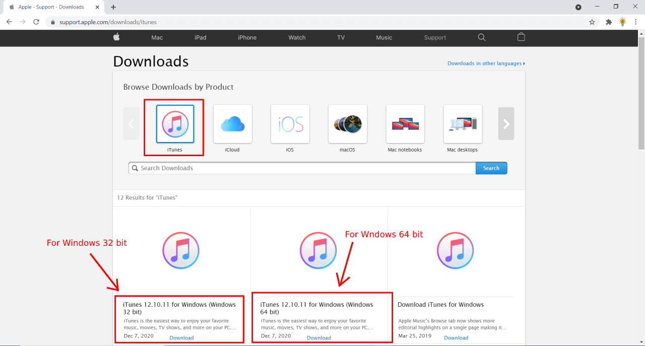 iTunes download page for Windows